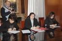 Il momento della firma del protocollo sulla mediazione familiare