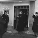 Monsignor Artemio Prati, vescovo di Carpi, esce dall'asilo del Villaggio