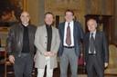 Da sinistra: il designer Mirco Pecorari, l'astronauta Maurizio Cheli, il sindaco Gian Carlo Muzzarelli e Ermanno Zanotti coordinatore Telethon Modena