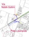 Diagonale, l'area della nuova rotatoria con le vie Nobili - Saltini