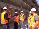 L'assessora all'Ambiente Alessandra Filippi insieme a tecnici del Comune, di Hera e del cantiere in corso alle scuole Galilei-Calvino