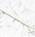 Il tracciato della Complanarina (rosso) accanto all'Autosole (verde)